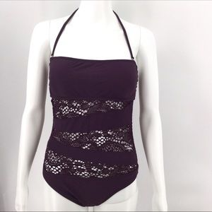 NWT MOSSIMO Swimsuit S Purple Lace One Piece Beach